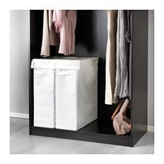 """IKEA - SKUBB, Laundry bag with stand, white, , The laundry bag does not absorb moisture or odors from the laundry because it is made of polyester.Two laundry bags fit side by side in a 19 5/8"""" wide PAX wardrobe frame with a depth of 22 7/8""""."""