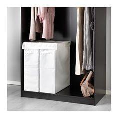 IKEA - SKUBB, Waszak met standaard, wit, , De waszak trekt geen vocht of geurtjes aan van de was omdat hij is gemaakt van polyester.2 waszakken passen naast elkaar in een PAX garderobekastelement van 50 cm breed en 58 cm diep.
