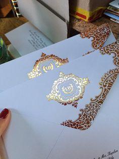Wedding Invitation Gold Foil Stamp por luxuryweddinvitation en Etsy