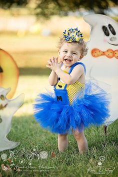 Minion Costume Tutu Dress Baby Girls Toddler - 2014 Halloween for Kids