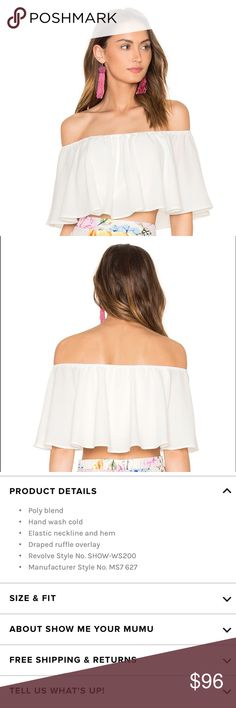 [smym] • [heidi crop] Heidi ruffle crop top in white laguna crinkle by Show Me Your Mumu. As seen on Revolve. NWT. Price firm unless bundled. Show Me Your MuMu Tops Crop Tops