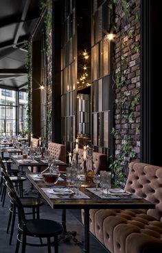 Casablanca Ahmet Cheff on Behance Modern Restaurant Design, Deco Restaurant, Luxury Restaurant, Industrial Restaurant, Luxury Cafe, Rustic Restaurant, Design Café, Lounge Design, Cafe Design