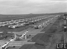 Airframes lined up awaiting their final assignment, entering the smelter, Kingman, Arizona