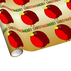Robin Merry Christmas gold colored wrapping paper