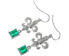 Dangle unusual emerald earrings
