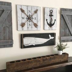 NAUTICAL ART SET, Wooden Nautical Decor, Anchor decor, Whale decor,Nautical decor,Nautical nursery, compass gift for him, rustic beach decor