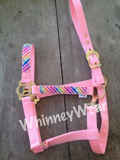 Ribbon trimmed horse halter, pink and rainbow plaid   www.whinneywear.com