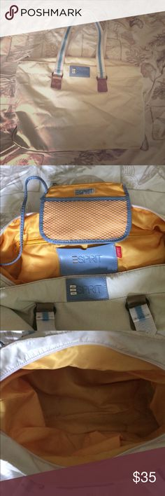 """🎉White esprit tote,attached coin purse White esprit tote. Yellow interior, blue and white handles. Has attached coin purse. Tan bottom, and tan under handles 17""""X11.5""""x 5"""" used condition, as is, has some staining, see pics. * Esprit Bags Totes"""