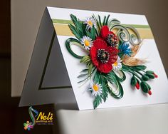 Handmade Quilling Card With Flowers Poppies and by QuillingBG Neli Quilling, Quilling Flowers, Quilling Cards, Paper Quilling, Quilling Ideas, Bead Art, Diy Art, Making Ideas, Gift Tags