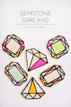 Wood gemstone garland