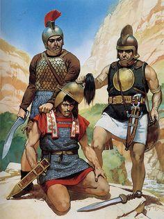 """Celtiberian warriors with Roman prisoner, late 2nd century BC"", Angus McBride"