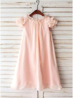 A-Line/Princess Knee-length Flower Girl Dress - Chiffon Short Sleeves Scoop Neck With Ruffles