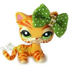 ✵Littlest Pet Shop✵1451✵YELLOW ORANGE SAFARI TIGER KITTY CAT✵STRIPPED✵ACCESSORY✵