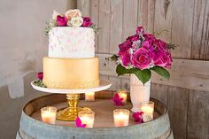 Gold & Berry wedding cake | Modern, Rustic Romantic Wedding Inspiration | Capitol Romance ~ Practical & Local DC Area Weddings | Images: Stephanie Leigh Photo & Design