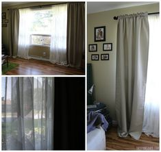 IKEA Curtain System - RÄCKA/ HUGAD Double curtain rod with NINNI TRÅD lace curtains and VILBORG beige curtains.