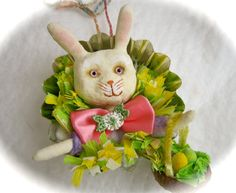 Spun Cotton Ornament  Bunny Tart  Purple by MariePattersonStudio