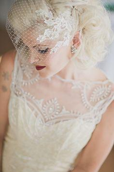 wedding hair and make up with birdcage veil and red lips #weddinghair #birdcageveil #weddingchicks http://www.weddingchicks.com/2014/02/03/malibu-forest-diy-wedding/