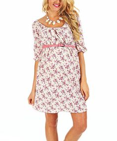 Look what I found on #zulily! PinkBlush Maternity White & Pink Floral Belted Maternity Scoop Neck Dress - Women by PinkBlush Maternity #zulilyfinds