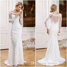 Full Sleeve Wedding Dresses Scoop Neck See Though Back Sheer Bridal Gowns Appliques Lace Sheath Wedding Gowns 2015 Modeca New Formal Gowns Wedding Dresses Under 500 Wedding Gown Designers From Dresses_bride, $131.31  Dhgate.Com