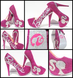 Barbie Heels with Swarovski Crystals on Pink by WickedAddiction, $175.00