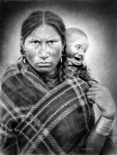 A protective mother carrying her cheerful little cherub on her back. Dakota tribe.