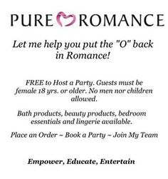 Do you like FREE?? Who doesn't? If you would like free products make sure to book your Pure Romance Party today! Dates are filling quickly so don't delay!! Call or text 570-228-1809 Email pureromancebysummer13@yahoo.com