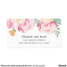 Shop Watercolor pink and peach flowers. Wedding address Label created by RemioniArt.