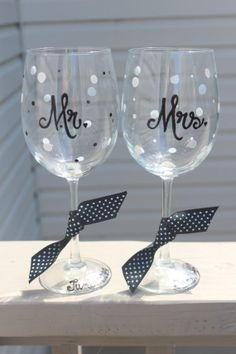 Mr. and Mrs. wine glass pair by aGlassWithSass on Etsy, $22.00