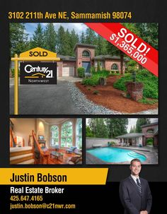 Congratulations Justin Bobson on your SOLD listing in Sammamish! Great work !!   Smarter, Bolder, Faster transactions! Just contact Justin or our Kirkland office @ 425-250-3301.   MLS# 950308 http://www.century21.com/property-C2188JD36
