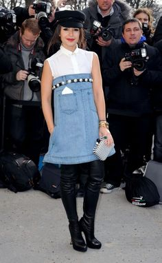 Pretty sure that only a fashion journalist and It girl could pull off this denim dress. Enter Miroslava Duma during the 2013 edition of Paris Fashion Week.