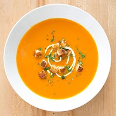 For a soup that tastes like its namesakes, use two forms of carrot and two forms of ginger.