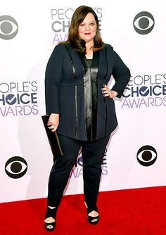 Melissa McCarthy looked every inch the film and television star in a sharp black tuxedo.