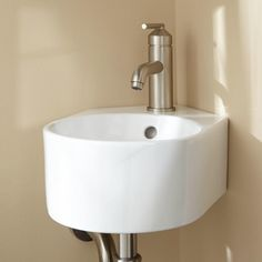 round white small wall mounted bathroom sink in the corner space. Alluring Small Wall Mounted Bathroom Sinks For Space Saving Layout Corner Pedestal Sink, Corner Sink Bathroom, Bathroom Sink Vanity, Small Bathroom, Bathrooms, Bathroom Ideas, Mirror Closet Doors, Sliding Closet Doors, Wall Mounted Bathroom Sinks
