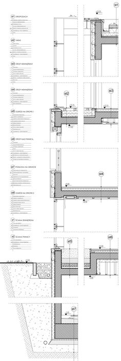 Details on Behance Detail Architecture, Architecture Student, Architecture Drawings, Interior Architecture, Wall Section Detail, Construction Drawings, Roof Detail, Glass Facades, Architectural Section