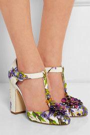 Dolce & GabbanaEmbellished floral-print brocade T-bar pumps
