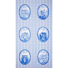 Michael Miller Blue & White Cat Portraits Blue from @fabricdotcom  From Michael Miller, this cotton print fabric is perfect for quilting, apparel and home decor accents.  Colors include shades of blue and white.