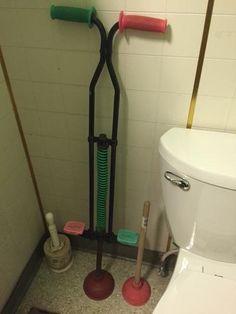 Pogostick plunger makes unclogging a toilet fun.