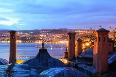 The city of Kavala at dusk, as seen from Imaret Hotel ~ Macedonia Amazing Greece / Incroyable Grèce by C. Skiathos, Karpathos, Samos, Beautiful Places To Visit, Oh The Places You'll Go, Amazing Places, Beautiful Islands, Beautiful World, Mykonos