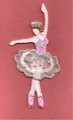 Ballet - Dance - Ballerina In Pink/Silver Embroidered Iron On Applique Patch