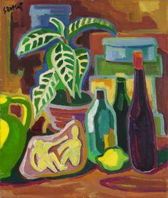 """Karl Schmidt-Rottluff  Rottluff 1884 – 1976 Berlin     """"STILLEBEN MIT FLASCHEN UND BLATTPFLANZE""""  1952. Oil on canvas.   90,5 x 76 cm (35 ⅝ x 29 ⅞ in.)"""