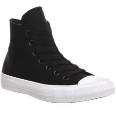Converse Chuck 2 Hi ($94) ❤ liked on Polyvore featuring shoes, sneakers, black white, trainers, unisex sports, canvas sneakers, black and white sneakers, cushioned shoes, sports trainer and star sneakers
