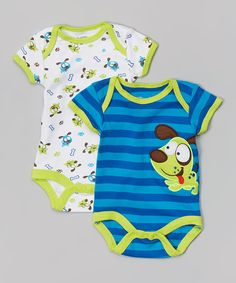 Another great find on #zulily! Blue & Green Dog Bodysuit Set - Infant by Nûby #zulilyfinds