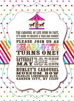 Carousel Rainbow theme party invitation  Charlotte's 1st birthday