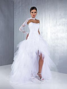 Lovely Strapless A-line High Low Wedding Dresses Tulle Netting Lace Beaded Sequin Bridal Gowns Vestidos Garden 2015 Spring Summer