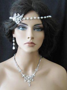 'Lauren' Gatsby style pearl wedding forehead band, £50.00