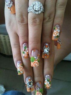 Peach 3D nail art design