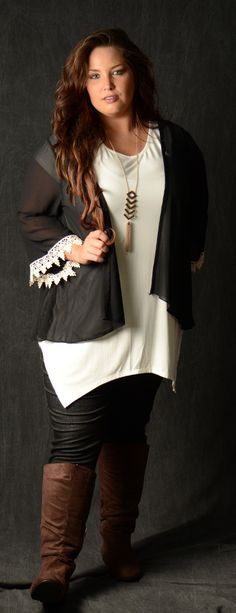 Black Crochet Cuff Cardigan