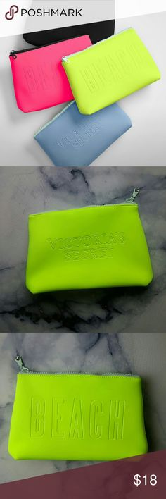 Victoria Secret neoprene BEACH cosmetic bag yellow Pre owned in very good condition. Size is Victoria's Secret Bags Cosmetic Bags & Cases
