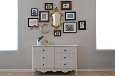 Picture grouping, nice wall color, painted laminate piece