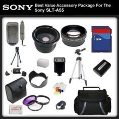 Best Value Accessory Package For Sony SLT-A55 includes: 16GB Hi Speed Error Free Memory Card, Hi Speed Card Reader, Extended Battery & Charger, Hard Flower lens Hood, 0.5x Professional Wide Angle Lens , 2X Telephoto Lens, 50 Inch tripod, Digital Video Flash, Flash Diffuser and More...THIS LENS WILL ATTACH TO ANY OF THE FOLLOWING SONY LENSES 18-55mm, 50-200mm by Digital. $120.95. This Kit Includes:  16GB Hi Speed Error Free Memory Card Hi Speed Card Reader Extended...